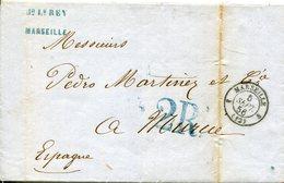 PREFILATELIA     Carta   Marsella A Murcia  ( 8-IX -1856 )  - 093A - 1849-1876: Periodo Clásico