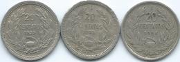 Chile - 1924 - 20 Centavos (KM167.1) 1932 (KM167.2) 1939 (KM167.3) - Chili