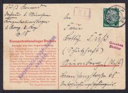 """1934 - Vordruckkarte """"Konzentrationslager Dachau"""" - Zensurstempel Vom Lager Und """"Gesehen/Direktor"""" - Guerre Mondiale (Seconde)"""