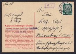 """1934 - Vordruckkarte """"Konzentrationslager Dachau"""" - Zensurstempel Vom Lager Und """"K 1"""" - Guerre Mondiale (Seconde)"""