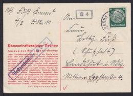 """1934 - Vordruckkarte """"Konzentrationslager Dachau"""" - Zensurstempel Vom Lager Und """"K 4"""" - Guerre Mondiale (Seconde)"""