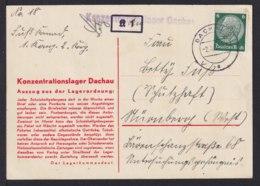 """1934 - Vordruckkarte """"Konzentrationslager Dachau"""" - Zensurstempel Vom Lager Und """"K 1"""" Mit Signum - Guerre Mondiale (Seconde)"""