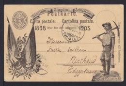 """5 C. Ganzsache """"Simplon"""" Mit Schwarzer Abbildung  """"Bergmann"""" - Gebraucht 1905 - Géologie"""