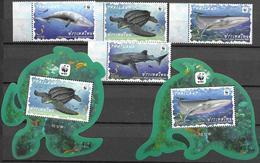 THAILAND, 2019, MNH, WWF, FAUNA, MARINE LIFE, TURTLES, WHALES, WHALE SHARKS, 4v+2 S/SHEETS - W.W.F.