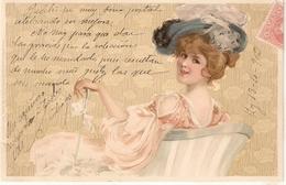 """Elegant Lady With Fanasy Hat"" Nice Vintage German Postcard - Women"