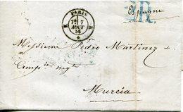 PREFILATELIA     Carta   Paris  A  Murcia   ( 7-VIII-1956 )  - 103A - Marcophilie (Lettres)