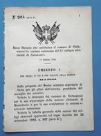 Decreto Regno Italia - Costituzione Stefanaconi In Sezione Di Catanzaro 1884 - Vieux Papiers