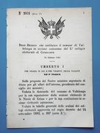 Decreto Regno Italia - Costituzione Vallelonga In Sezione Di Catanzaro 1884 - Vieux Papiers