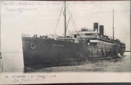 """Cpa, Le Havre, 76, Paquebot  Le """"Chicago"""", Courrier Convoyeur Militaire, Cachet Commissaire Militaire, 06/1916, éd LL - Paquebots"""