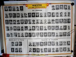 Guerre 1940-1945 Havré (Mons) A Ses Prisonniers Poster Avec Les Photos Des Prisonniers Et Des Tués De La Commune - Collections