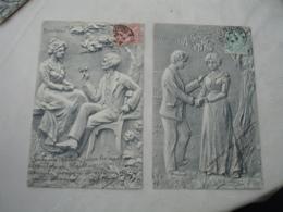 Lot De 4 Cpa  Fantaisie Couple  Souvenir   Salve Bonheur Adieu Style Sculpture Argile 1904 - Fantasie