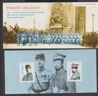 """Bloc Souvenir -  2019 -  N° 151  - """" Centenaire Des Relations Diplomatiques France - Pologne """"   -   Neuf   - - Souvenir Blocks & Sheetlets"""