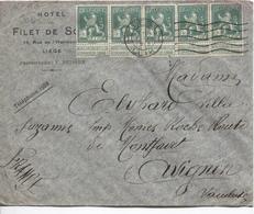 REF816/ TP 110 (5) S/L.Hôtel Filet De Sole C.Liège  1/12/1913 > Avognon C.d'arrivée - 1912 Pellens