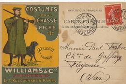 Art Card Advert Williams 3 Rue Caumartin Paris Chasse Peche . Envoi Chateau De Gafary Fayence Var - Chasse