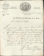 Préfet Drôme Marie Louis Henri D'Escorches De Sainte-Croix AN 12 Vignette Républicaine Pétition Exonération Patente - 1801-1848: Precursori XIX