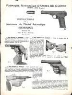 FN Fabrique Nationale D'Armes De Guerre Herstal - Instructions Pistolet Browning Modèle 1922 - Vecchi Documenti