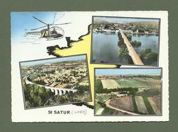 CARTE POSTALE 18 CHER SAINT SATUR MULTIVUES HELICOPTERE - Saint-Satur