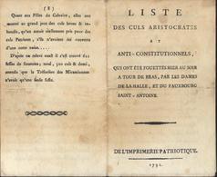 Liste Des Culs Aristocrates Anti Constitutionnels Fouettés Par Dames De La Halle Et Faubourg St Antoine Révolution 1791 - Andere