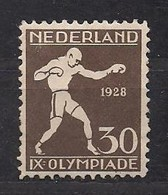 Pays-Bas Nederland 1928 Yvertn° 206 (*) Mint Light Hinged Cote 30,00 Euro Jeux Olympiques Amsterdam - Period 1891-1948 (Wilhelmina)