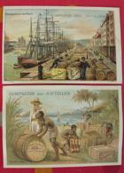 2 Chromos Compagnie Des Antilles, Rhums Naturels, Laval. Image Chromo. Vers 1880. Fabrication Et Transport Du Rhum - Trade Cards