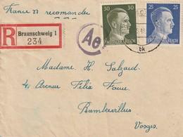LSC Recommandée De Braunschweig . Camp De Travail. Censure AE 06/1943 - Guerre De 1939-45