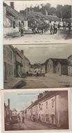 3 CPA:ROUCY (02) HÔTEL VOITURE RUE DE PONTAVERT,PLACE DE LA FONTAINE (glacée),VACHES AU CHÂTEAU MAISONS DÉTRUITES.ÉCRITE - France