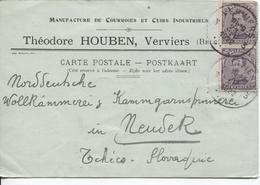 REF820/ TP 139(2) S/CP T.Houben Courroies & Cuirs Industriels C.Verviers 23/8/1922 > Tchécoslovaquie - Brieven En Documenten