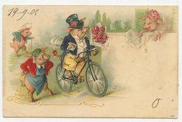 CPA. Cochons Humanisés.une Visite à Bicyclette, Bouquet De Roses à La Main.                           .E.81 - Dressed Animals