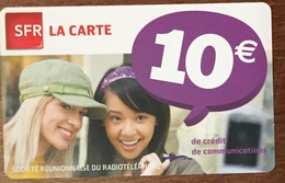 RÉUNION FILLES RECHARGE GSM SFR 10 EURO EXP 07/13 CARTE PRÉPAYÉE PREPAID PHONECARD CARD PAS TÉLÉCARTE - Réunion