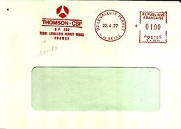 Lettre  EMA  Havas T 1977 Thomson Csf  Usine 92 Levallois Perret  C19/20 - Poststempel (Briefe)