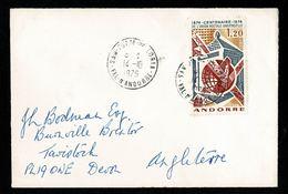 ANDORRE 1975 Lettre Pour Angleterre à Son Tarif 1,20F UPU   Tàd SAN-JULIA-DE-LORIA 14.10.1975   2 Scan - Andorra Francese