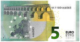 (Billets). 5 Euros 2013 Serie UC, U008B3 Signature 3 Mario Draghi N° UC 1180466083 UNC - EURO