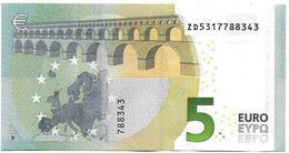 (Billets). 5 Euros 2013 Serie ZD, Z020D1 Signature 3 Mario Draghi N° ZD 5317788343 UNC - 5 Euro