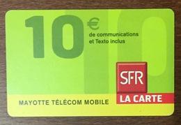 MAYOTTE SFR RECHARGE GSM 10 EURO PRÉPAYÉE DU 05/10 CARTE À CODE PHONECARD CARD PAS TÉLÉCARTE - Reunion