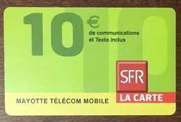 MAYOTTE SFR RECHARGE GSM 10 EURO PRÉPAYÉE DU 01/10 CARTE À CODE PHONECARD CARD PAS TÉLÉCARTE - Reunion