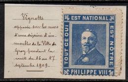 """ERINNOPHILIE - MONARCHIE / VIGNETTE PORTE TIMBRE  """"PHILIPPE VIII"""" DUC D'ORLEANS (ref 7120c) - Autres"""