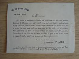DOCUMENT SOU DES ECOLES LAIQUES DE MENTON - Autres