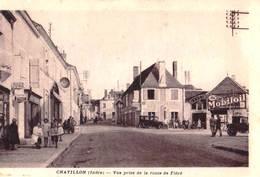 CPA : Chatillon (36)  Vue Prise De La Route De Fléré  Tabac, Garage Mobiloil Avec Voitures  Ed  Bourdin - Altri Comuni