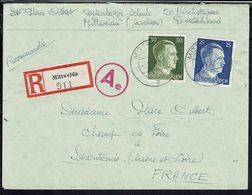 Allemagne - 1941-43 - Affr. A. Hitler à 55 Pf Sur Enveloppe Recommandé De Mittweida Pour La France - Cachet Censor Ae - - Cartas