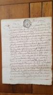 GENERALITE MONTPELLIER MANUSCRIT  JOSEPH MAURICE BRUSCHET ET JEAN PIERRE DE SOUBEJRAN  1761  DEUX SOLS - Gebührenstempel, Impoststempel