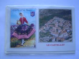 CARTE POSTALE En Relief : LE CASTELLET ( VAR ) FEMME Avec Robe En Tissu - Souvenir De...