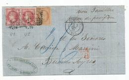 "- GIRONDE - BORDEAUX - GC.532 S/Paire N°32 + N°38 + Càd T.17+ ""PD"" Rouge - 1871 - 1863-1870 Napoleone III Con Gli Allori"