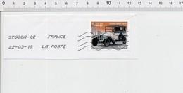 Timbre Oblitéré Sur Fragment Fête Du Timbre Citroën Type A 10 HP 1919 TP-01 - Adhésifs (autocollants)