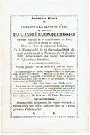 MAASTRICHT / NAMEN / NAMUR - Paul André BARON De CRASSIER - Overleden 1864 - (Franstalig) - Images Religieuses