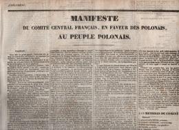 1831 - MANIFESTE DU COMITE CENTRAL FRANCAIS EN FAVEUR DES POLONAIS - AU PEUPLE POLONAIS . - LAFAYETTE VICTOR HUGO ... - Documents Historiques