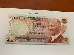 Turkey 20 Lira Banknote 1970 - Turquie