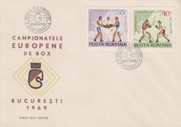 Enveloppe   FDC  1er  Jour   ROUMANIE    Championnat  D' Europe  De   Boxe   1969 - Pugilato
