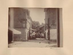 110420B - PHOTO ANCIENNE XIXème - 34 VILLENEUVE LES BEZIERS Une Rue Animée Café - France