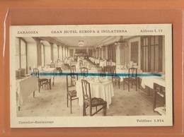 Carte Postale - ZARAGOZA - Gran Hotel Europa & Inglaterra - Comedor Restaurant - Zaragoza