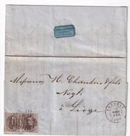 DDW 854 -- Lettre TP Médaillon 2 X 10 C Barres 120 TOURNAY 1860 - Superbe Entete Illustrée Lefebvre § Cie à CHERCQ - 1851-1857 Medallones (6/8)